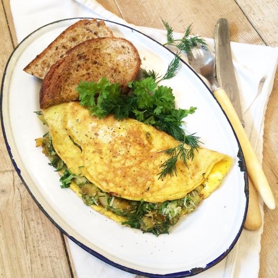 potet, squash omelett